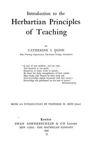 Cover of: Introduction To The Herbartian Principles Of Teaching