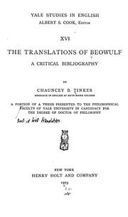 Cover of: translations of Beowulf | Chauncey Brewster Tinker