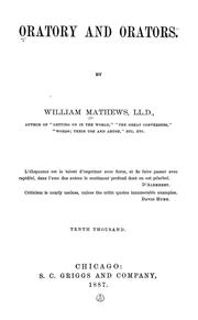 Oratory and orators by William Mathews