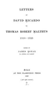 Cover of: Letters of David Ricardo to Thomas Robert Malthus, 1810-1823