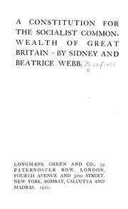 Cover of: A constitution for the socialist commonwealth of Great Britain | Sidney Webb