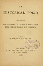 Cover of: An historical poem | R. Wilbur Hinckley