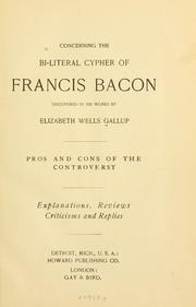 Cover of: Concerning the bi-literal cypher of Francis Bacon discovered in his works