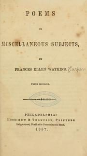 Cover of: Poems on miscellaneous subjects | Frances Ellen Watkins Harper