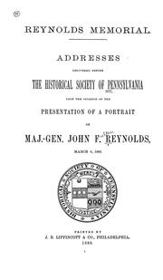 Cover of: Reynolds memorial | Historical Society of Pennsylvania.