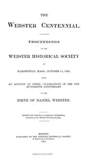 Cover of: Webster centennial. | Webster Historical Society (Boston, Mass.).