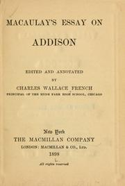 Cover of: Macaulay's essay on Addison