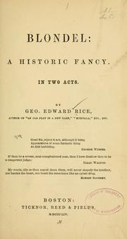 Cover of: Blondel | Rice, George Edward