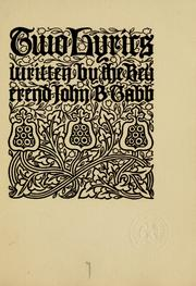 Cover of: Two lyrics