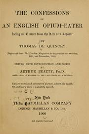 Cover of: The confessions of an English opium eater by THOMAS DE QUINCEY