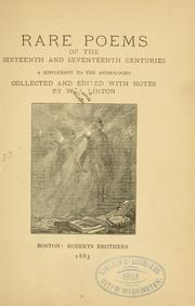 Cover of: Rare poems of the sixteenth and seventeenth centuries | W. J. Linton