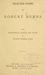 Cover of: Selected poems of Robert Burns | Robert Burns
