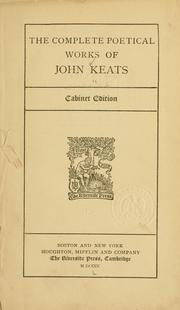 Cover of: The complete poetical works of John Keats
