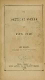 Cover of: The poetical works of Eliza Cook