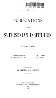 Cover of: Publications of the Smithsonian institution. May, 1896. | Smithsonian Institution