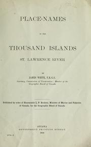 Cover of: Place-names in the Thousand Islands, St. Lawrence River