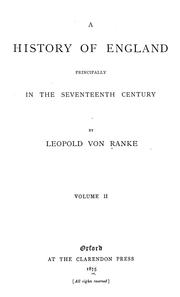 Cover of: A history of England principally in the seventeenth century | Leopold von Ranke