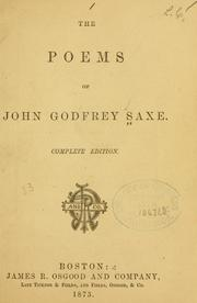 Cover of: The poems of John Godfrey Saxe