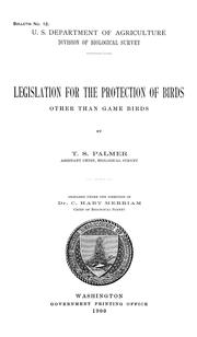 Cover of: Legislation for the protection of birds other than game birds