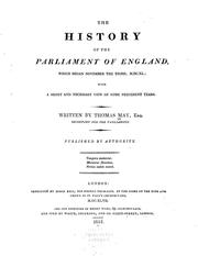 Cover of: The history of the Parliament of England