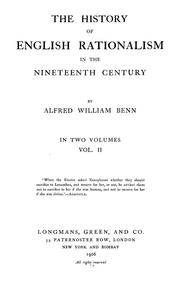 Cover of: The history of English rationalism in the nineteenth century