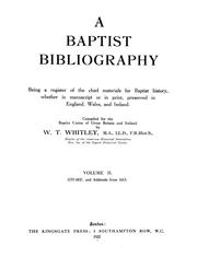Cover of: A Baptist bibliography |