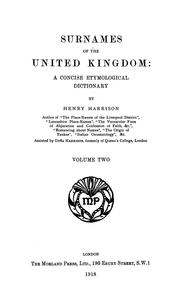 Cover of: Surnames of the United Kingdom | Henry Harrison undifferentiated