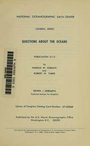 Cover of: Questions about the oceans | Harold W. Dubach
