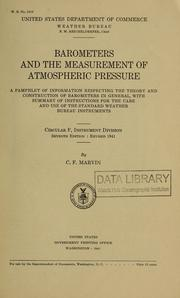 Barometers and the measurement of atmospheric pressure by Charles F. Marvin
