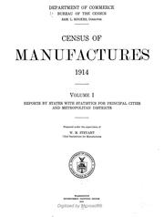 Cover of: Census of manufactures: 1914