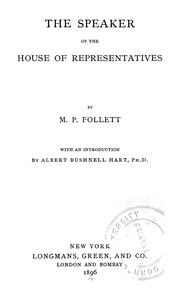 Cover of: The speaker of the House of representatives