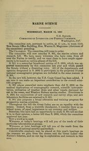 Cover of: Marine science | United States. Congress. Senate. Committee on Interstate and Foreign Commerce.