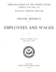 Cover of: Employees and wages | United States. Census Office. 12th census, 1900.