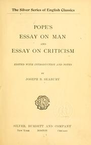 Pope s essay on man and essay on criticism open library