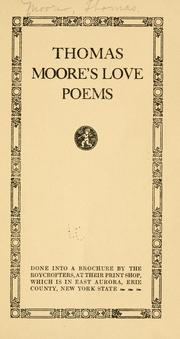 Cover of: Thomas Moore's love poems