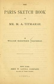 Cover of: The Paris sketch book of Mr. M. A. Titmarsh