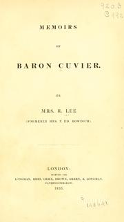 Cover of: Memoirs of Baron Cuvier. | Lee, R. Mrs.