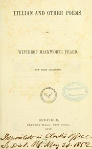 Cover of: Lillian, and other poems | Winthrop Mackworth Praed