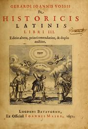 Cover of: De historicis latinis