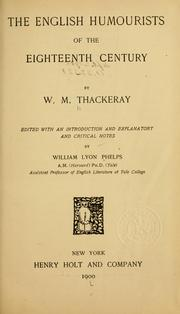 Cover of: The English humourists of the eighteenth century | William Makepeace Thackeray