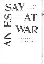 Cover of: An Essay at War