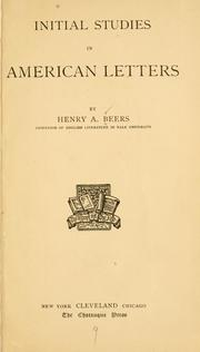 Cover of: Initial Studies in American Letters