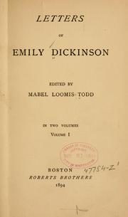 Cover of: Letters of Emily Dickinson