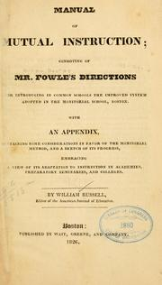 Cover of: Manual of mutual instruction