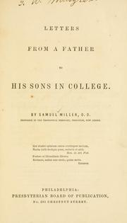 Cover of: Letters from a father to his sons in college