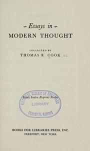Cover of: Essays in modern thought | Thomas R. Cook
