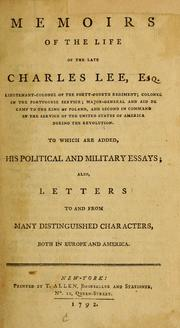 Cover of: Memoirs of the life of the late Charles Lee, Esq