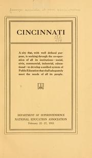 Cover of: Cincinnati by American Association of School Administrators.