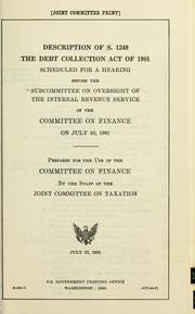 Cover of: Description of S. 1249 the Debt Collection Act of 1981 |