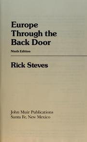 Cover of: Europe through the back door (JMP travel)